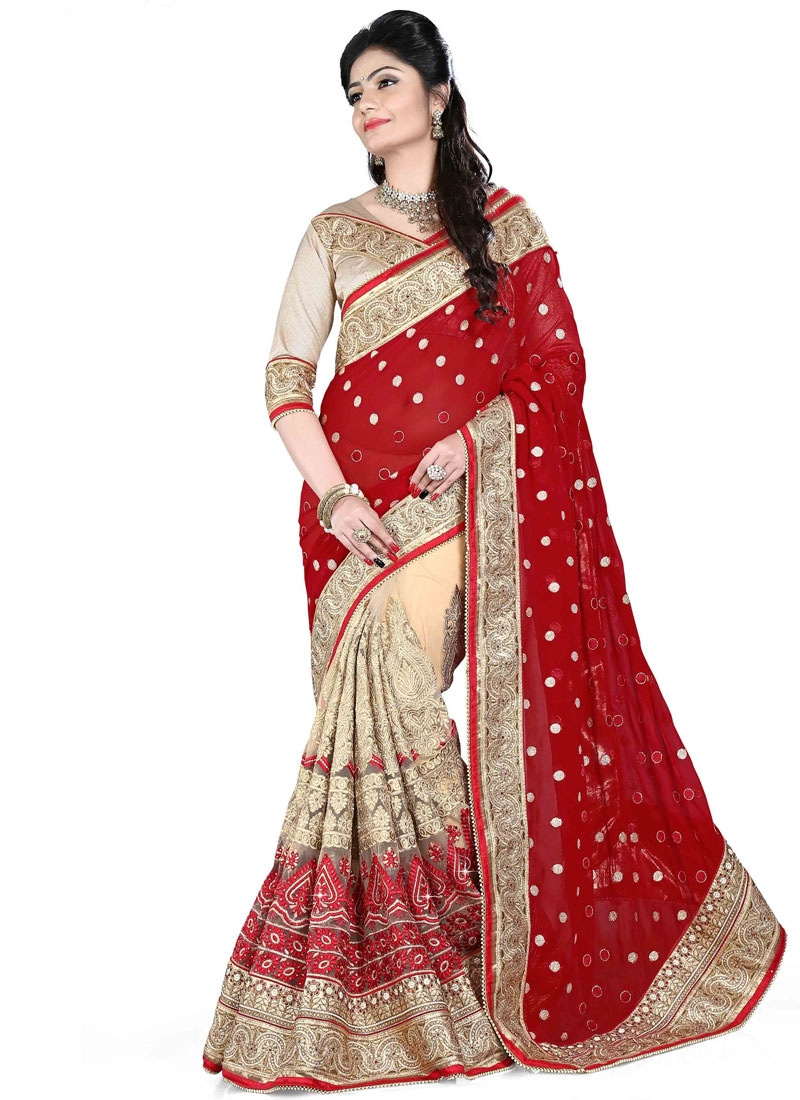 Gripping Pure Georgette Half N Half Bridal Saree