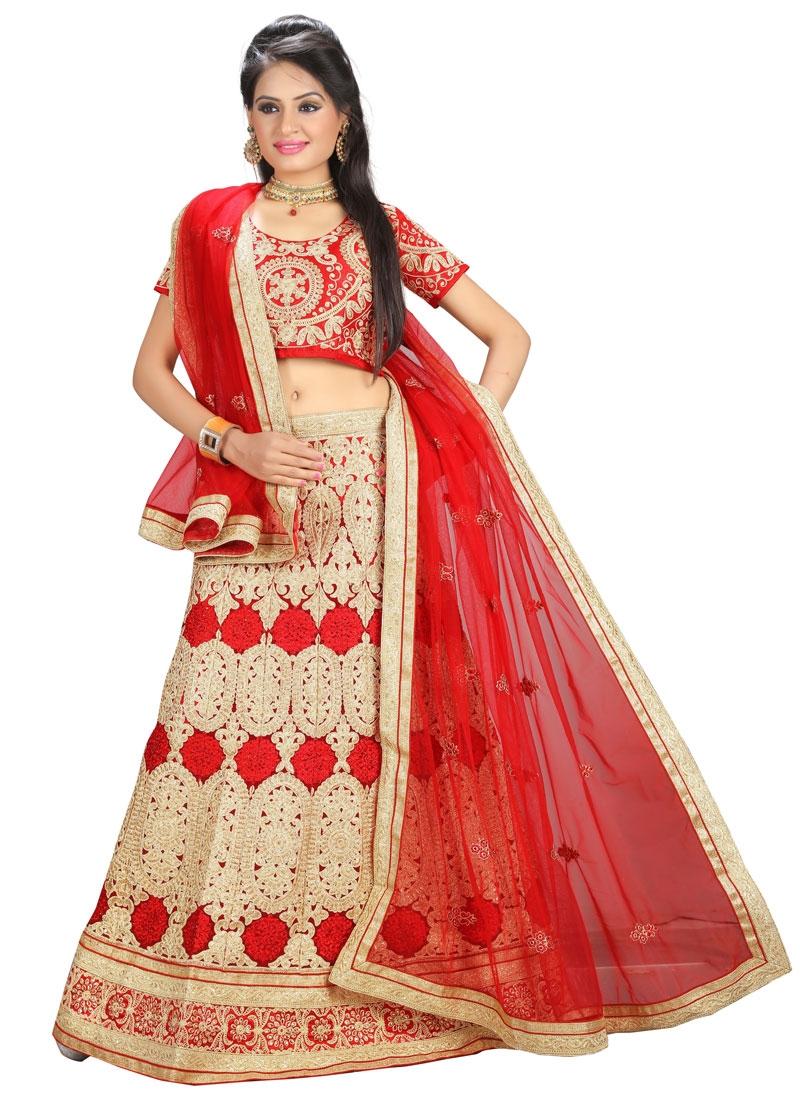 Gripping Red Color Patch Border Work Wedding Lehenga Choli