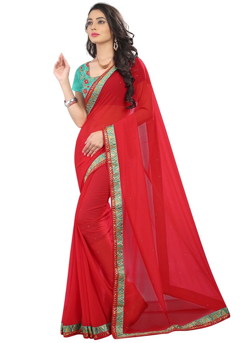 Gripping Red Color Stone Work Party Wear Saree