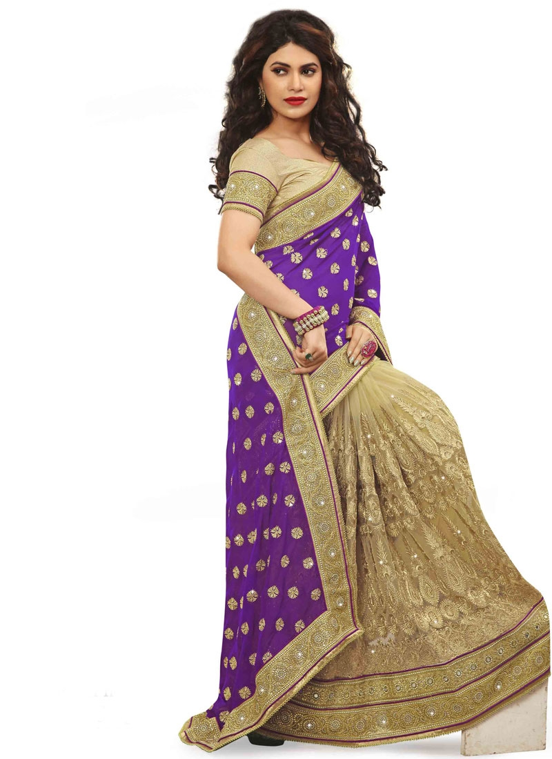 Gripping Resham And Stone Work Half N Half Bridal Saree