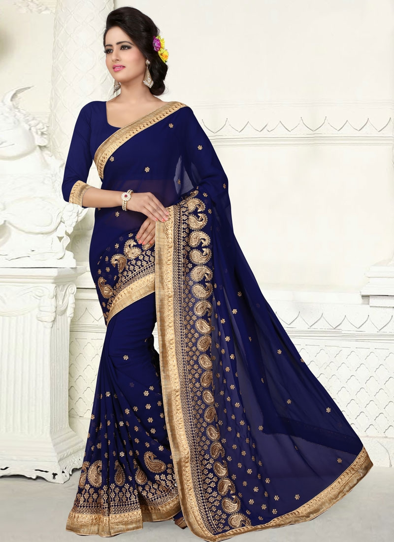 Gripping Resham Work Navy Blue Color Party Wear Saree