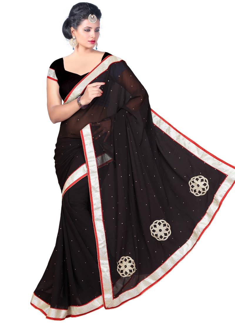 Gripping Stone Work Black Color Casual Saree