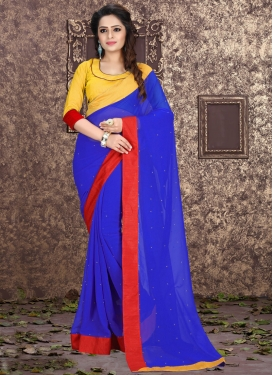 Gripping Stone Work Faux Georgette Casual Saree