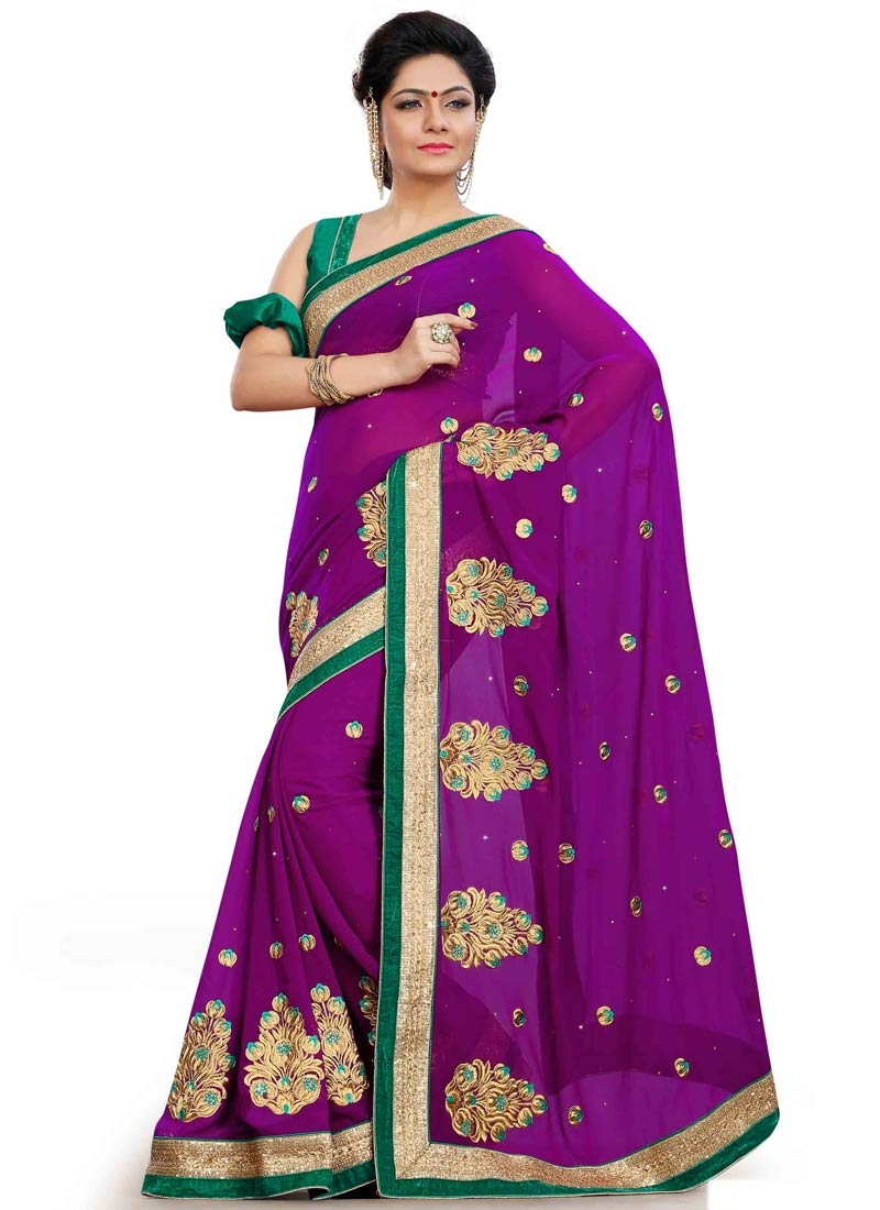 Gripping Stone Work Purple Color Party Wear Saree
