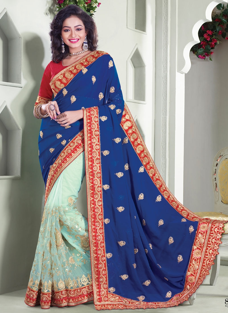 Groovy Beads And Embroidery Work Half N Half Wedding Saree