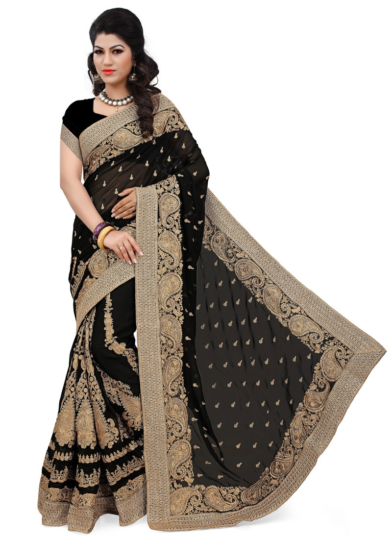 Groovy Black Color Booti Work Designer Saree