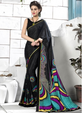 Groovy Black Color Crepe Silk Casual Saree