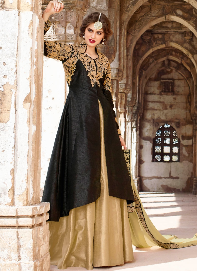 Groovy Black Color Embroidery Work Designer Lehenga Choli