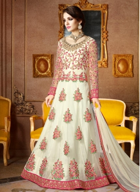 Groovy Booti Work Net Trendy Anarkali Salwar Kameez