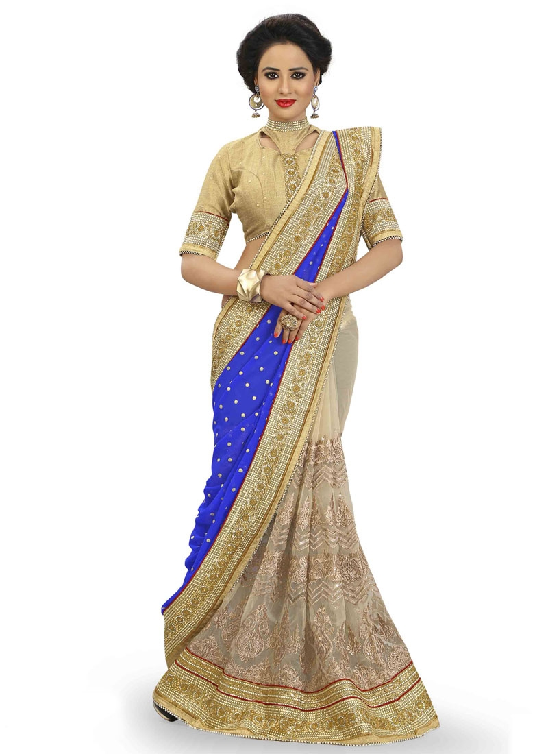 Groovy Embroidery And Beads Work Half N Half Wedding Saree