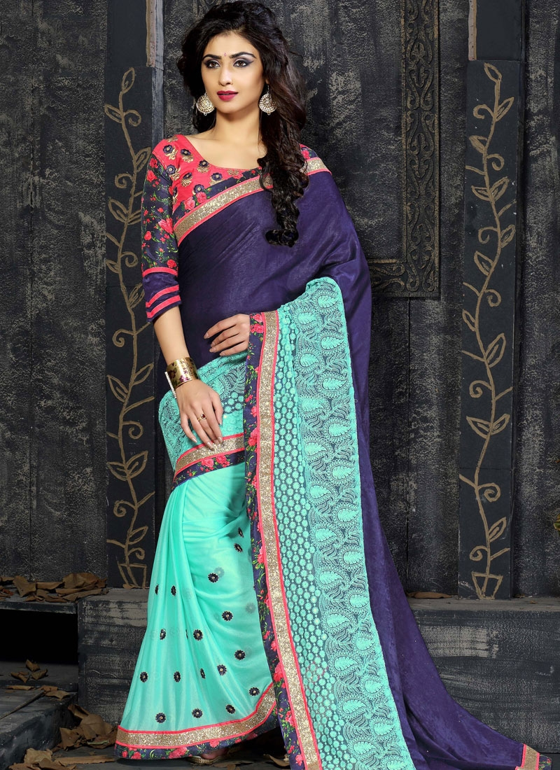 Groovy Embroidery Work Lycra Designer Saree