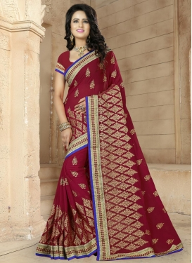Groovy  Faux Georgette Booti Work Trendy Classic Saree