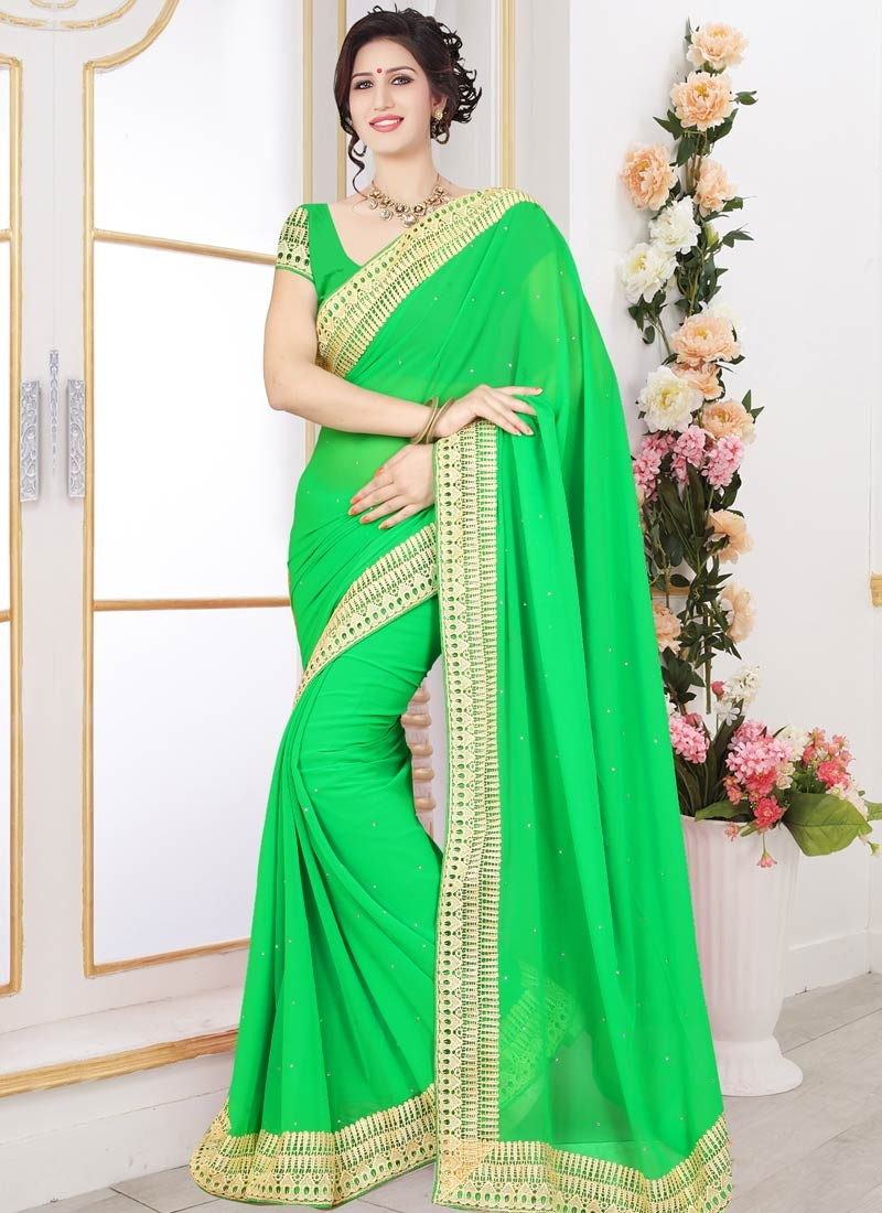 Groovy Lace And Stone Work Casual Saree