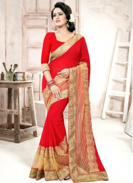 Groovy Lace Work  Faux Georgette Designer Contemporary Style Saree