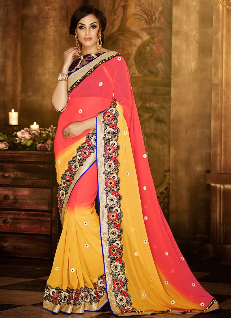 Groovy Lace Work Faux Georgette Party Wear Saree