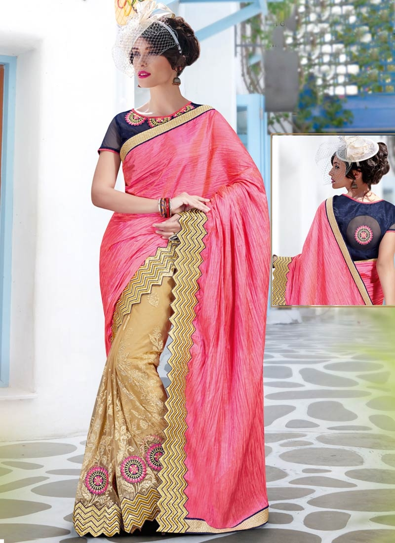 Groovy Lace Work Hot Pink Color Half N Half Designer Saree