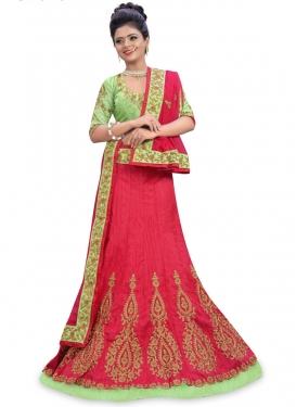 Groovy Mint Green and Red  Layered Lehenga Choli