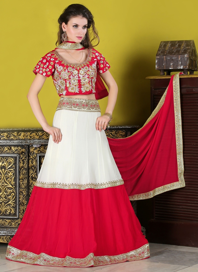 Groovy Red And White Color Party Wear Lehenga Choli