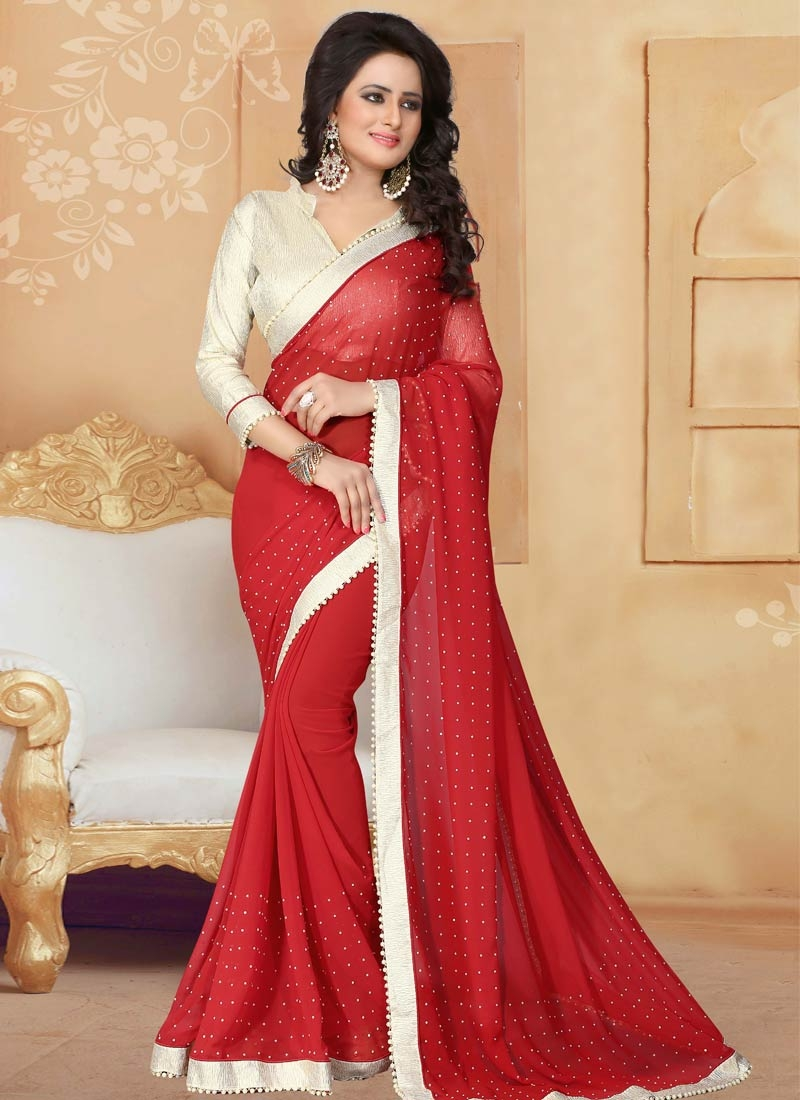 Groovy Red Color Lace Work Party Wear Saree