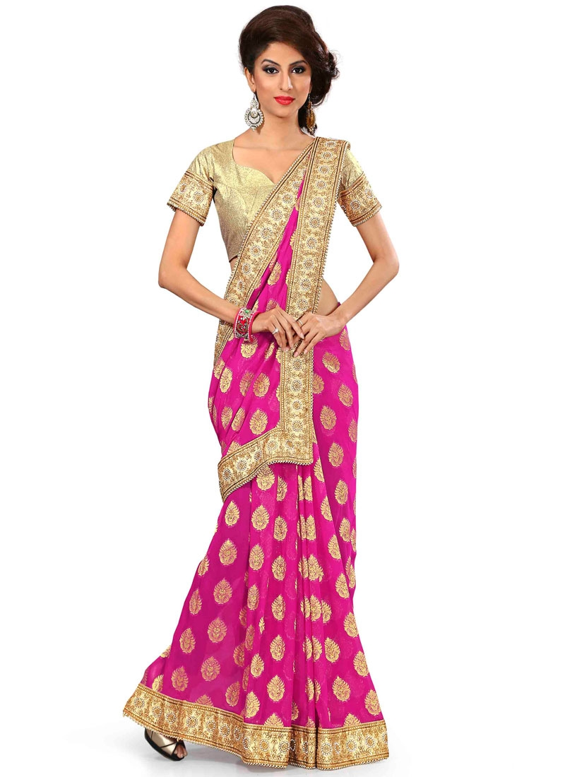 Groovy Resham And Stone Work Viscose Party Wear Saree