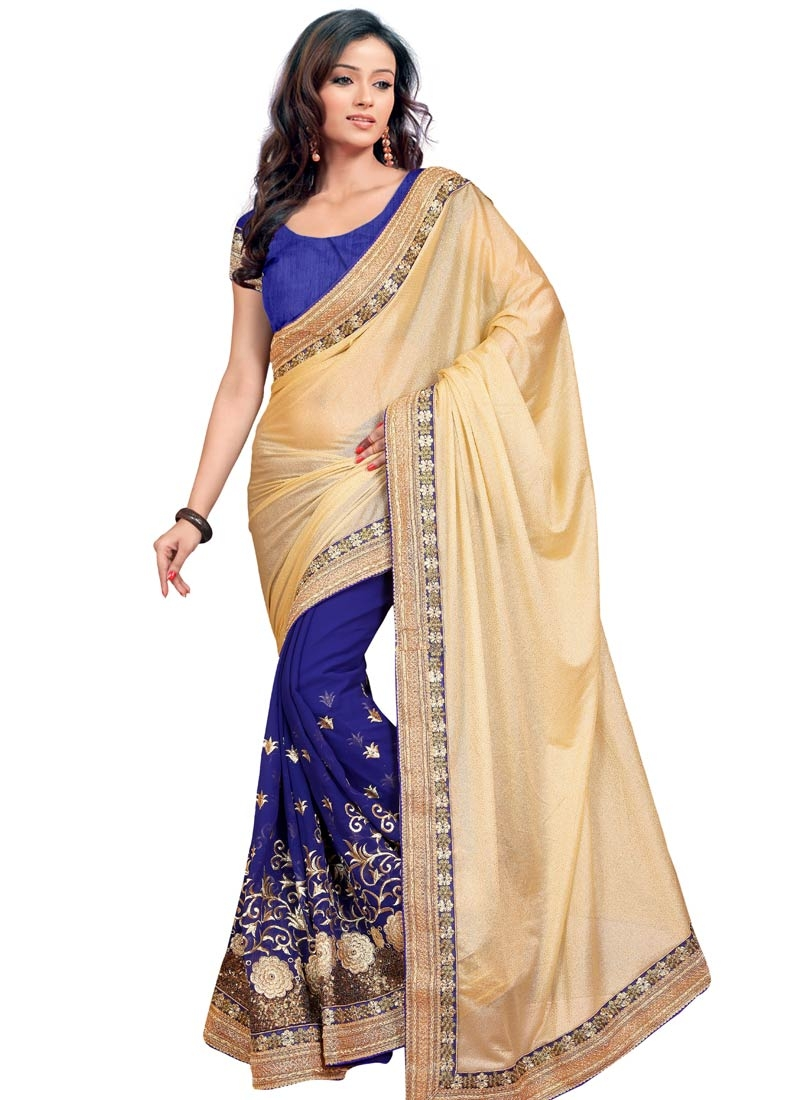 Groovy Sequins And Lace Work Half N Half Designer Saree