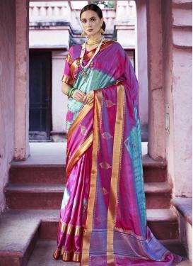 Handloom Silk Aqua Blue and Magenta Thread Work Trendy Saree