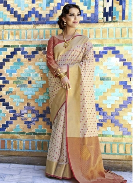 Handloom Silk Beige and Maroon Thread Work Contemporary Style Saree
