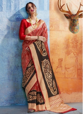 Handloom Silk Black and Red Thread Work Trendy Saree