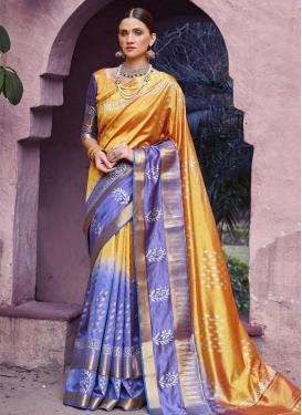 Handloom Silk Blue and Gold Thread Work Designer Traditional Saree