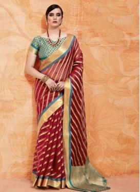 Handloom Silk Crimson and Teal Thread Work Trendy Classic Saree