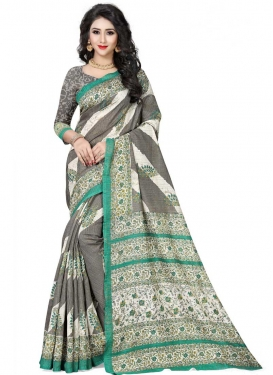 Handloom Silk Grey and Off White Trendy Classic Saree