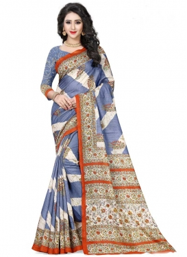 Handloom Silk Light Blue and Off White Digital Print Work Designer Contemporary Style Saree