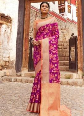 Handloom Silk Magenta and Orange Designer Traditional Saree