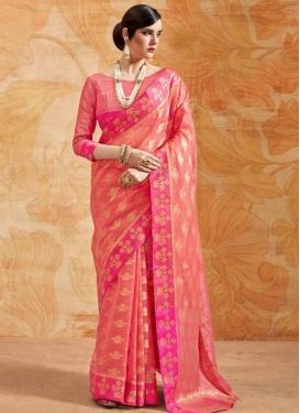 Handloom Silk Rose Pink and Salmon Thread Work Traditional Saree