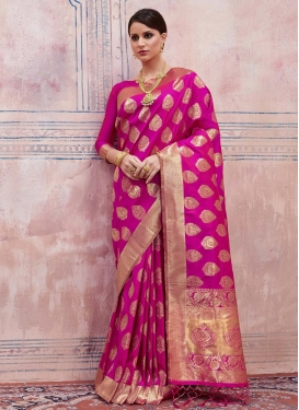 Handloom Silk Thread Work Contemporary Saree