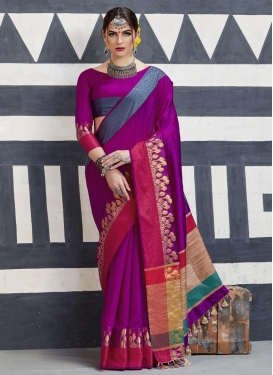 Handloom Silk Thread Work Contemporary Style Saree