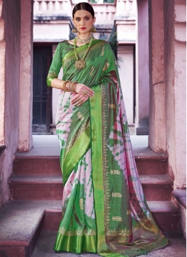 Handloom Silk Thread Work Green and Salmon Contemporary Saree