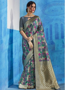 Handloom Silk Thread Work Trendy Classic Saree