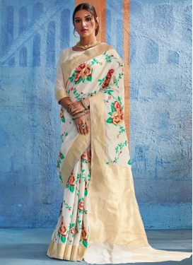 Handloom Silk Thread Work Trendy Saree