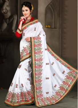 Haute Bhagalpuri Silk Embroidered Work Red and White Trendy Classic Saree