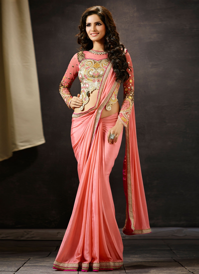Haute Crepe Silk Salmon Color Designer Saree