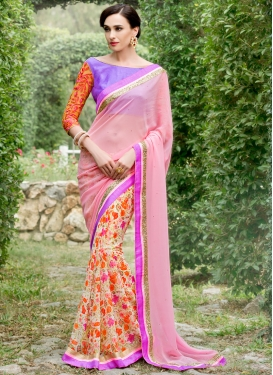 Haute Digital Print And Stone Work Half N Half Party Wear Saree