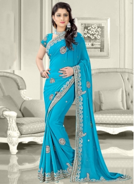 Haute Faux Georgette Beads Work Wedding Saree