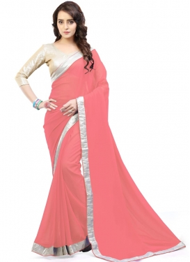 Haute Faux Georgette Lace Work Contemporary Style Saree