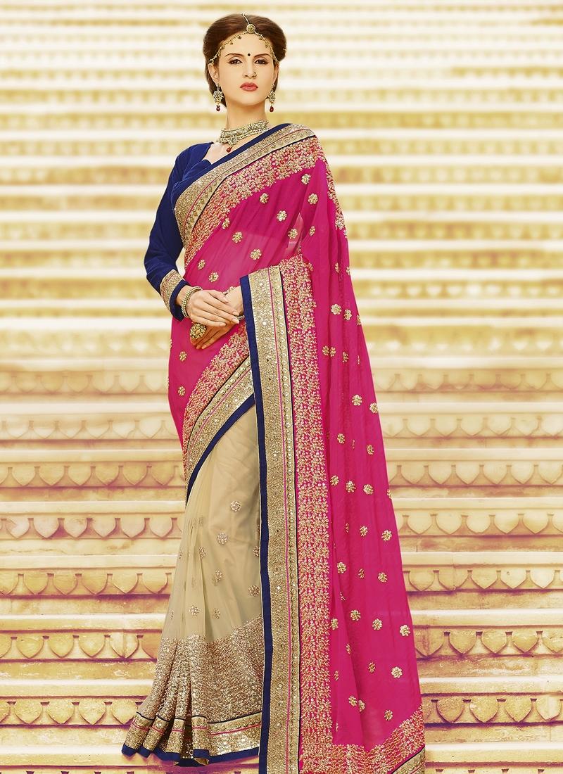 Haute Jaal And Sequins Work Half N Half Wedding Saree