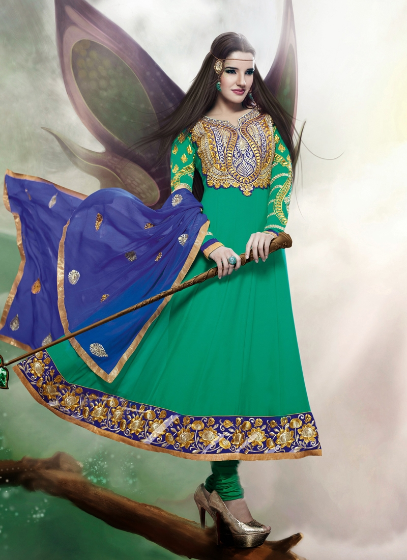 Haute Resham And Patch Work Party Wear Suit