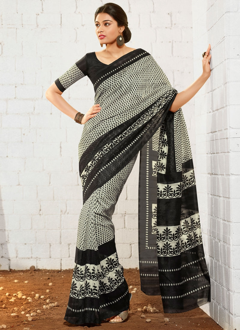 Heavenly Abstract Print Work Casual Saree