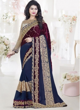 Heavenly Beige and Maroon  Net Designer Contemporary Style Saree