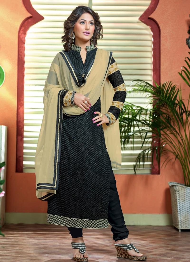 4b7cbd7580 Heavenly Black Color Hina Khan Party Wear Suit