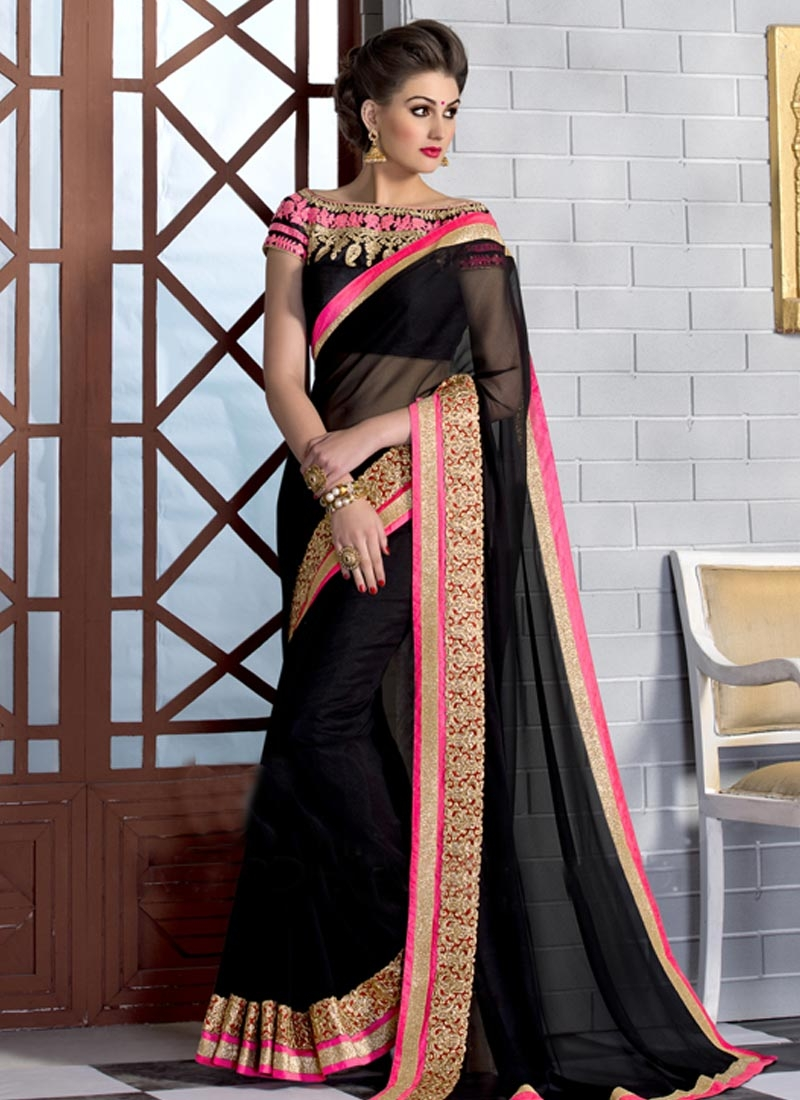 Heavenly Black Color Resham Work Party Wear Saree
